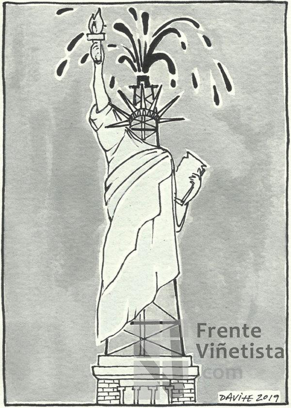 Estatua de la libertad del petróleo - Viñeta de Davite