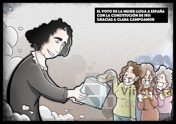 El voto femenino llega a España con Clara Campoamor. - Viñeta de Ben