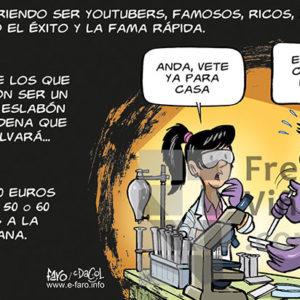 Los jóvenes científicos nos salvan - Viñeta de Faro