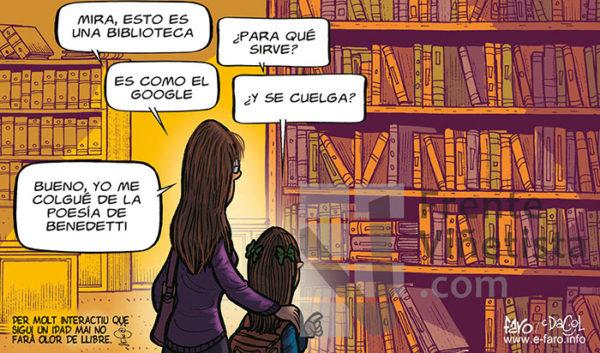 Bibliotecas - Viñeta de Andrés Faro