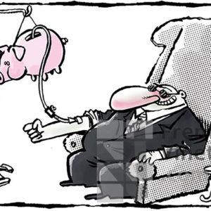 Gota a gota capitalista - Viñeta de Kap