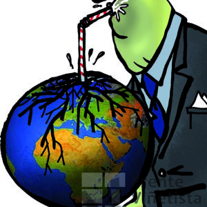 Economía extractiva - Viñeta de Kap