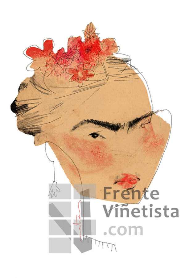 Frida Khalo - Caricatura de Matías Tolsà