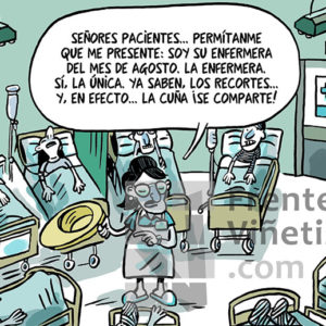 Los recortes de la Sanidad Pública - Viñeta de Ferran Martín