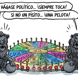 La ruleta de la política, siempre toca - Viñeta de Ferran Martín